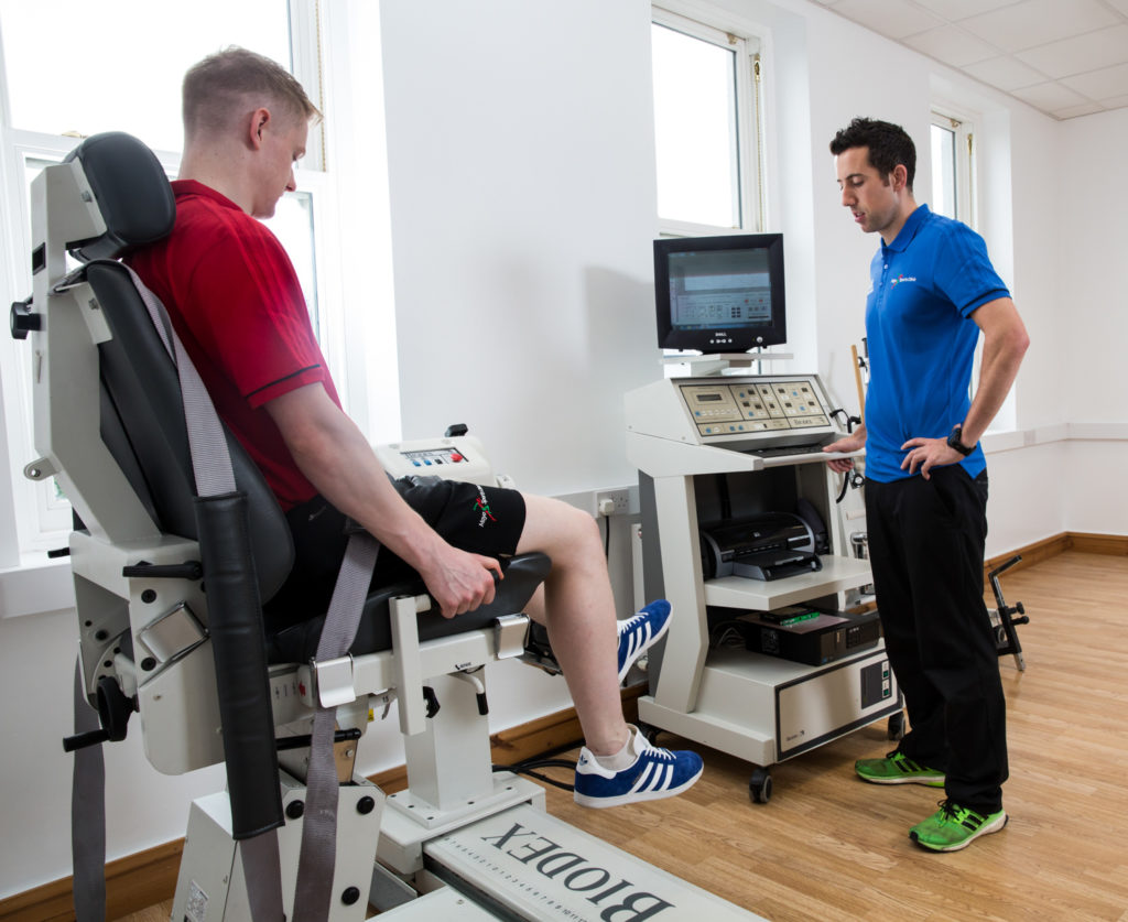 Mayo Sports Clinic, Ballina corporate image of John Courell physiotherapist at work. Images by Sean Flynn, The Commercial Photographer