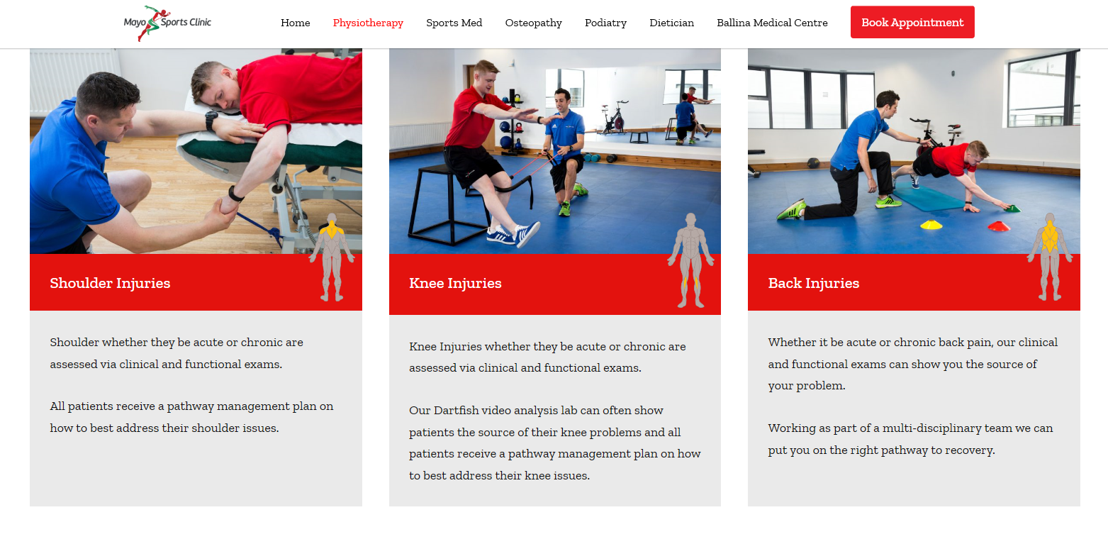 Mayo Sports Clinic, Ballina website screen shot with corporate images of Liam Moffatt physiotherapist at work. Images by Sean Flynn, The Commercial Photographer