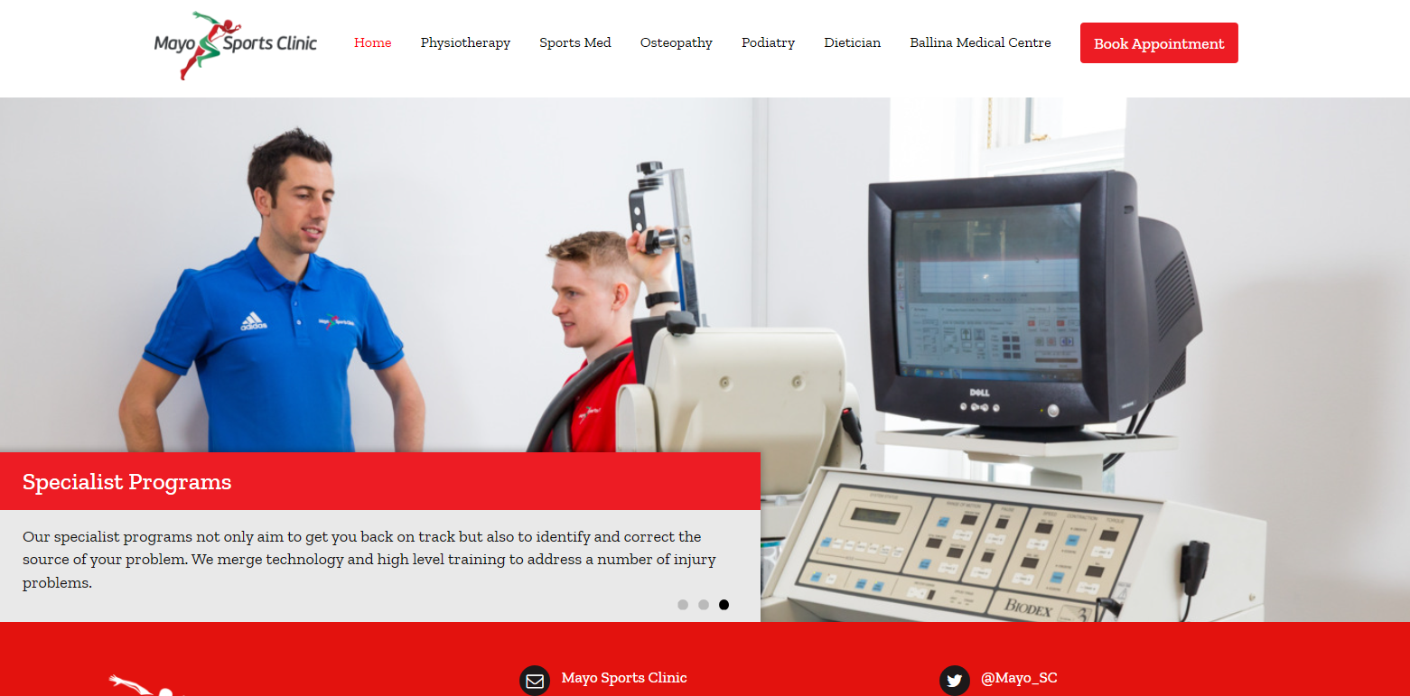 Mayo Sports Clinic, Ballina website screen shot with corporate images of John Courell physiotherapist at work. Images by Sean Flynn, The Commercial Photographer